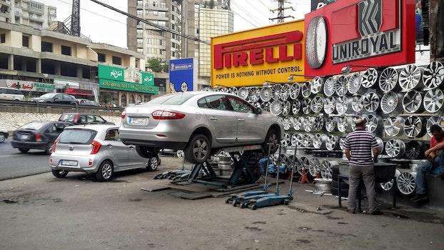 Free stock photo of cars, tires, repairing