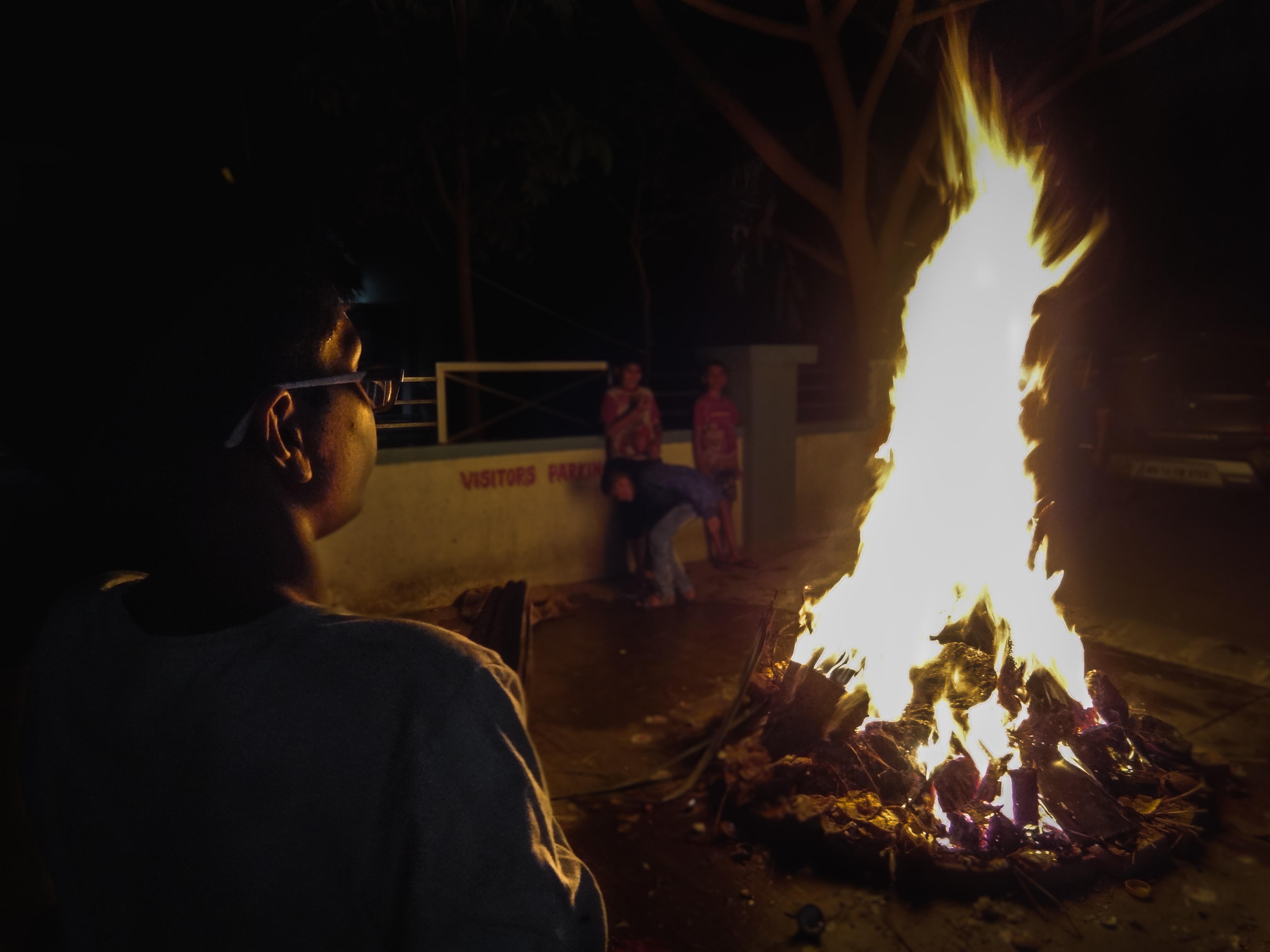 Free stock photo of fire, night, portrait