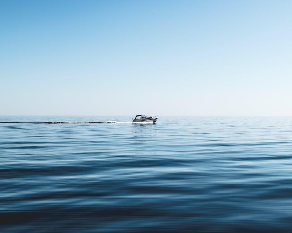 båt, blå, dagsljus