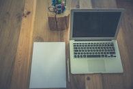 wood, desk, laptop