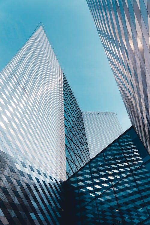 architectuur, binnenstad, blauw