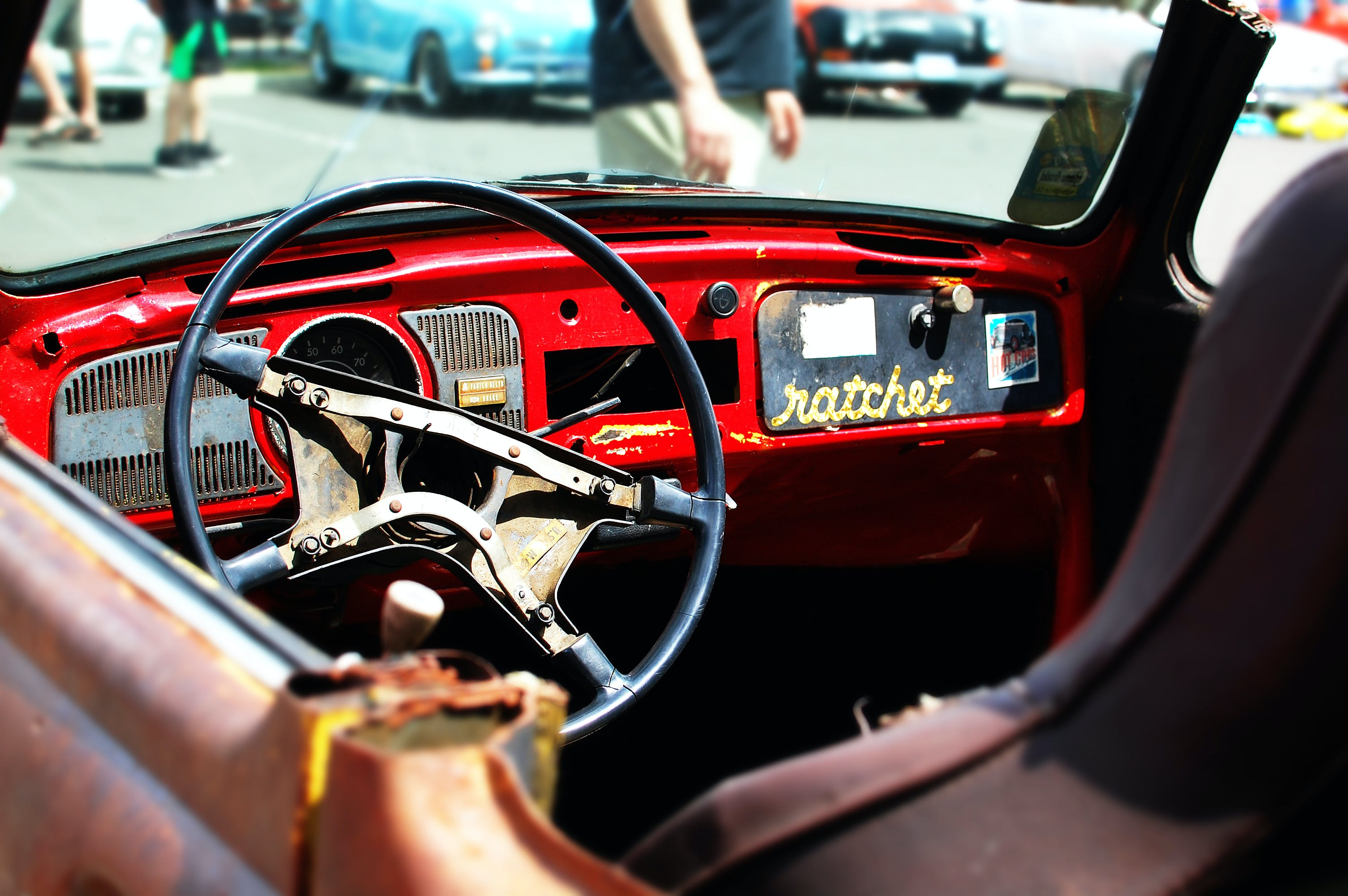 Free stock photo of car, car show, old, red