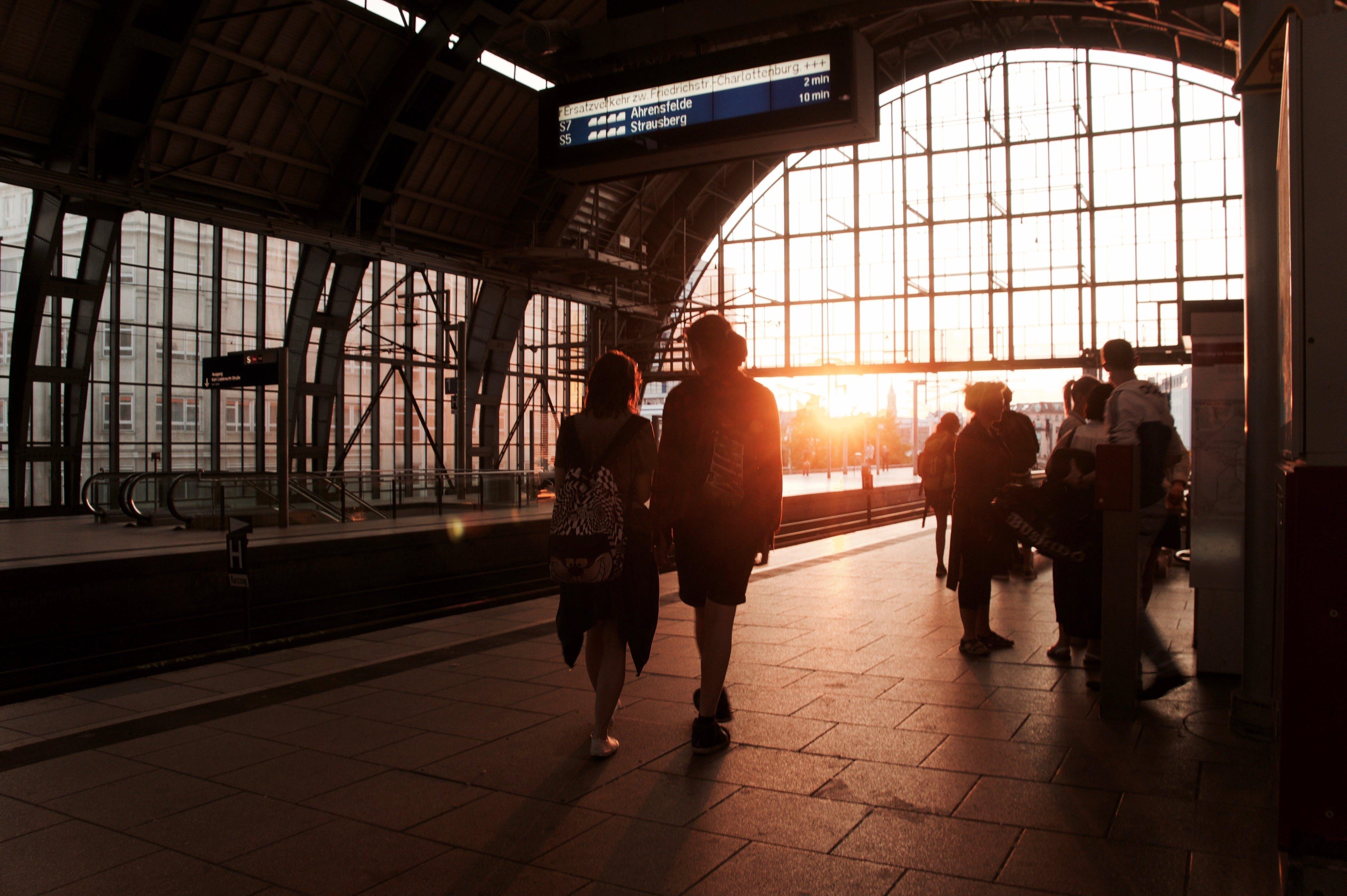 Free stock photo of sunset, couple, berlin, train station