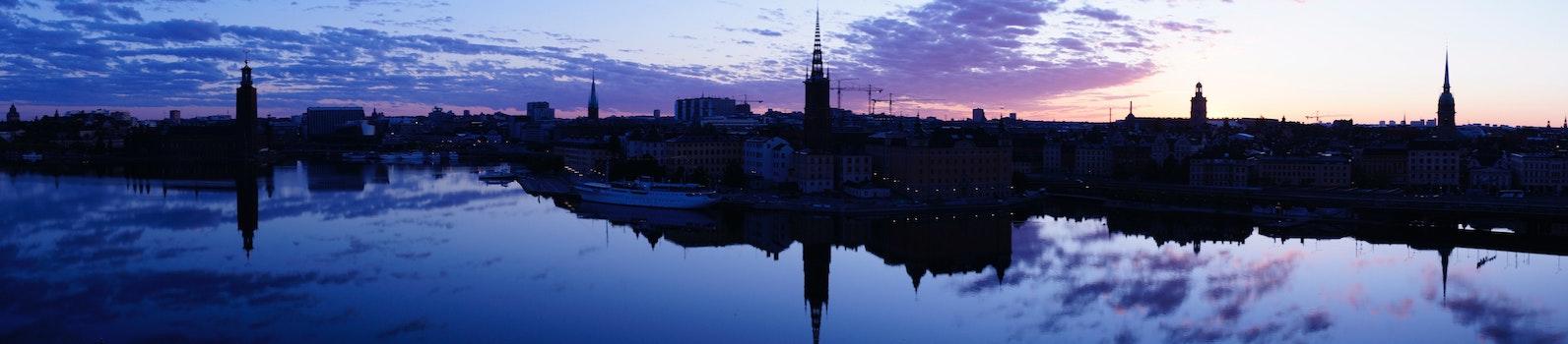 Free stock photo of sunrise, stockholm, panorama