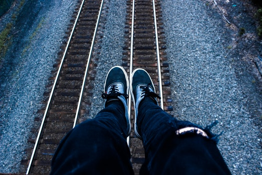 Free stock photo of feet, rocks, train, jeans
