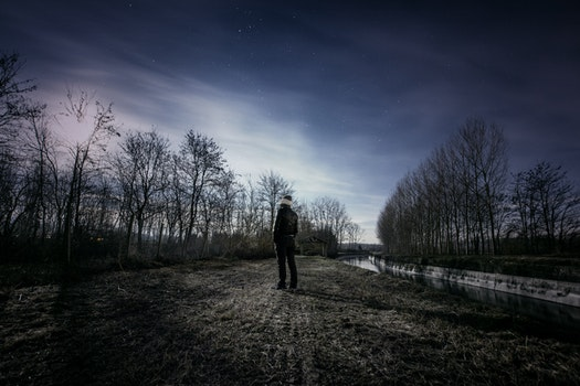 Free stock photo of landscape, man, person, night