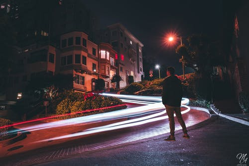Free stock photo of light painting, Lombard street, long exposure, sf