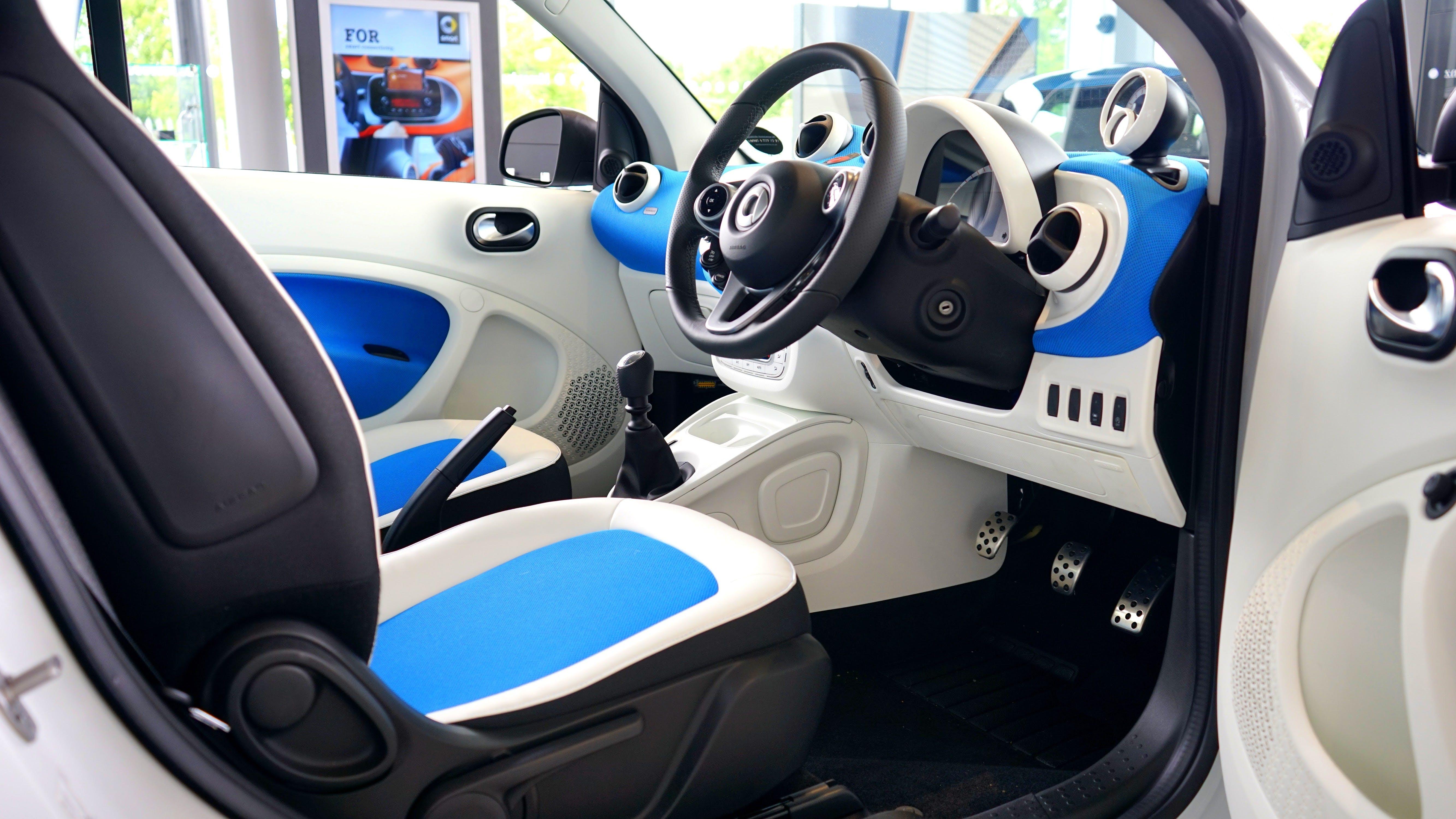 Black, White, and Blue Vehicle