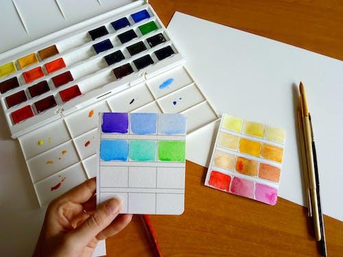 Gratis lagerfoto af akvarel, farve, hånd, kunst