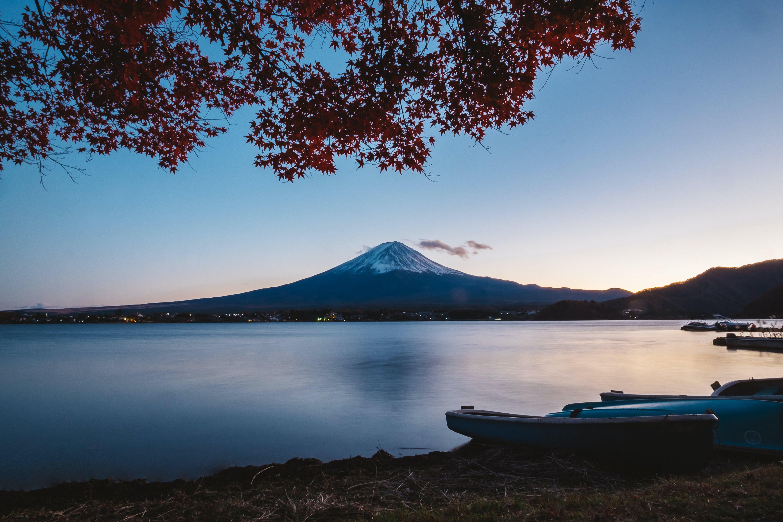 ağaç, akşam, dağ, fuji içeren Ücretsiz stok fotoğraf