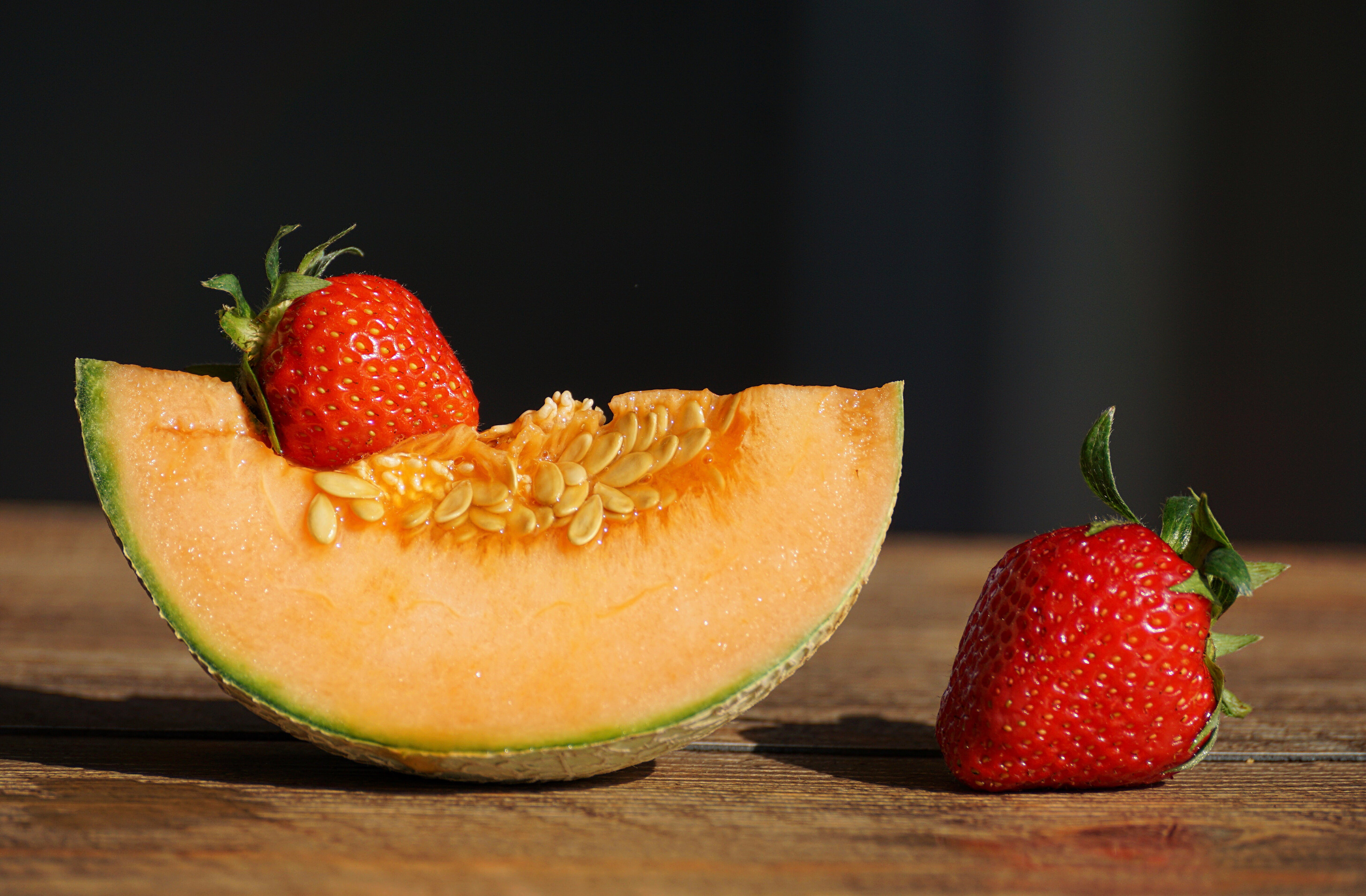 Red Strawberries and Cantaloupe