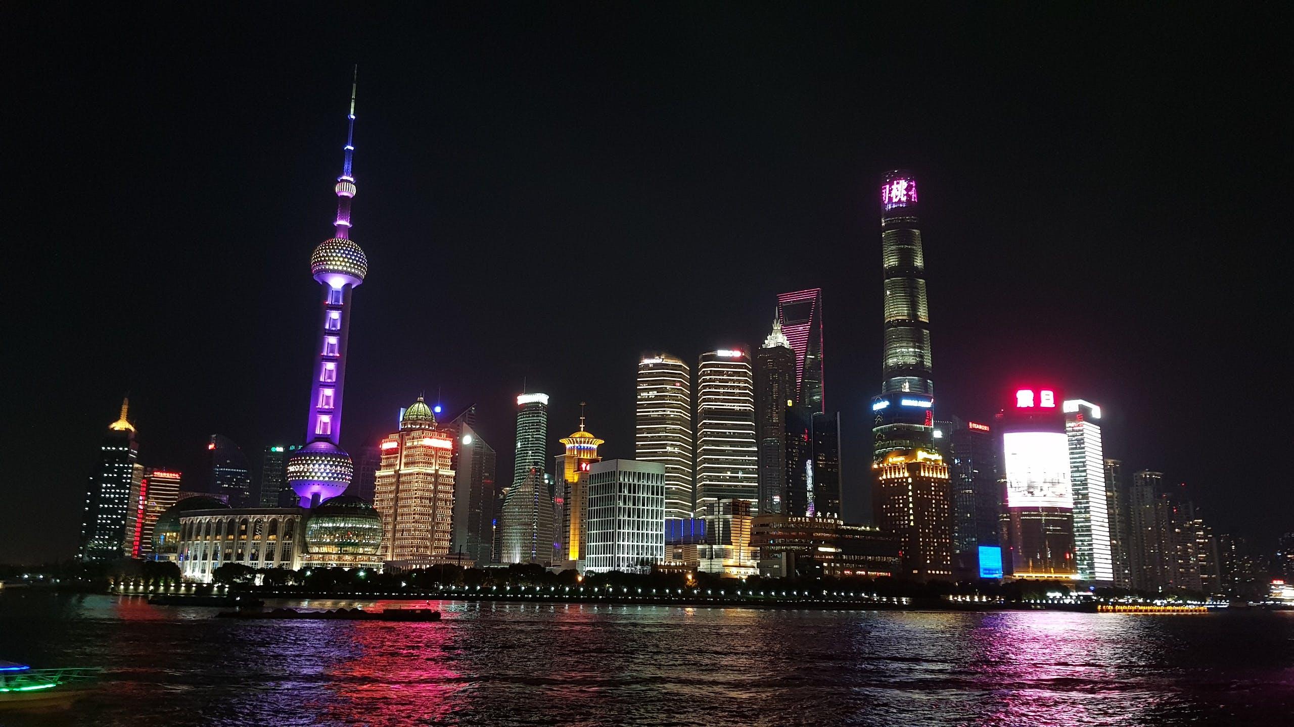 cảnh quan thành phố, chiếu sáng, hiện đại