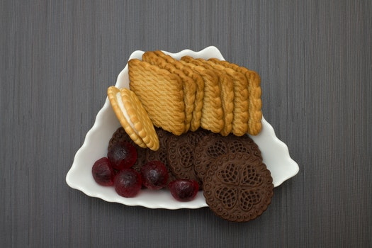 Free stock photo of food, plate, chocolate, biscuits