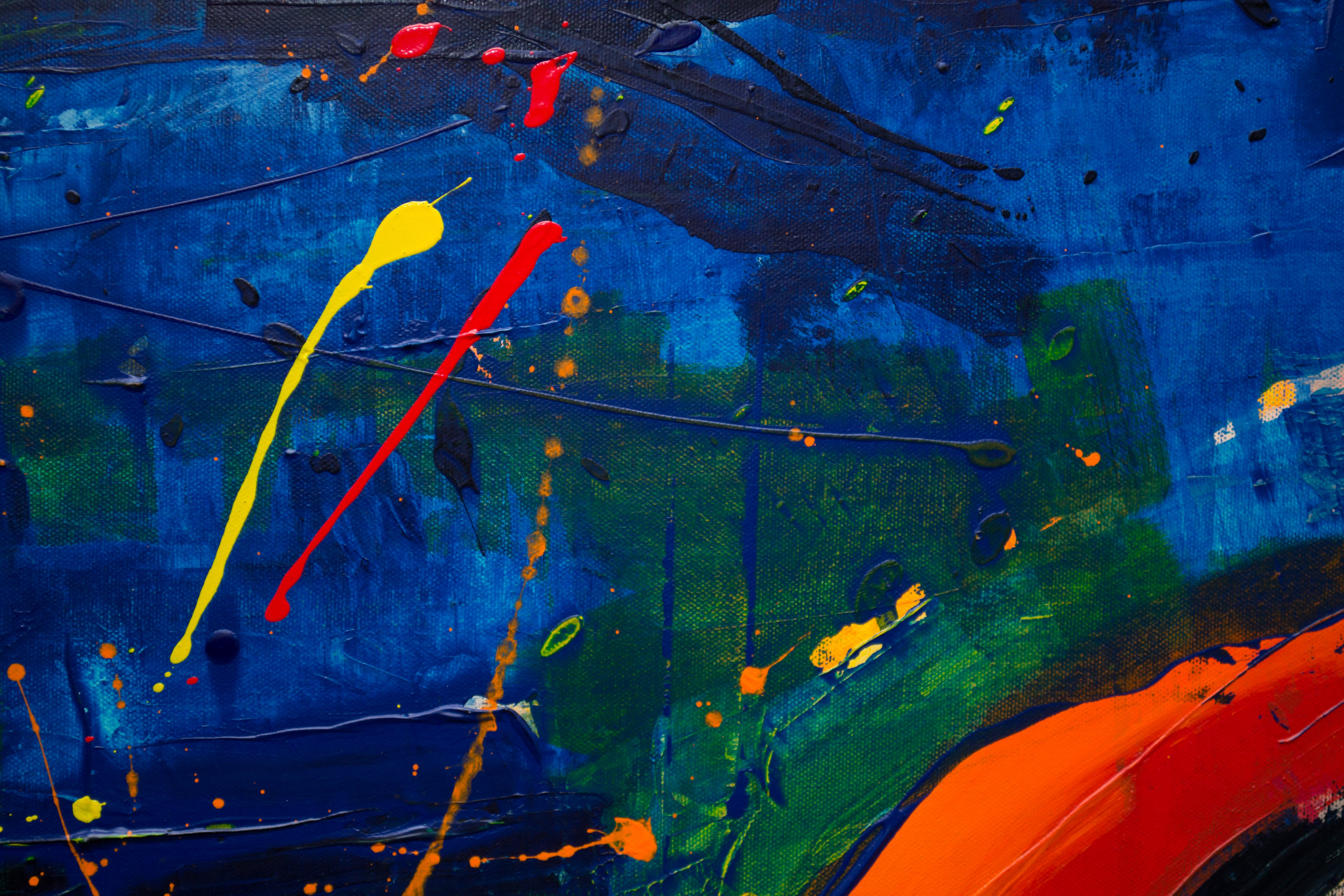 Blue, Green, Orange, and Yellow Abstract Painting