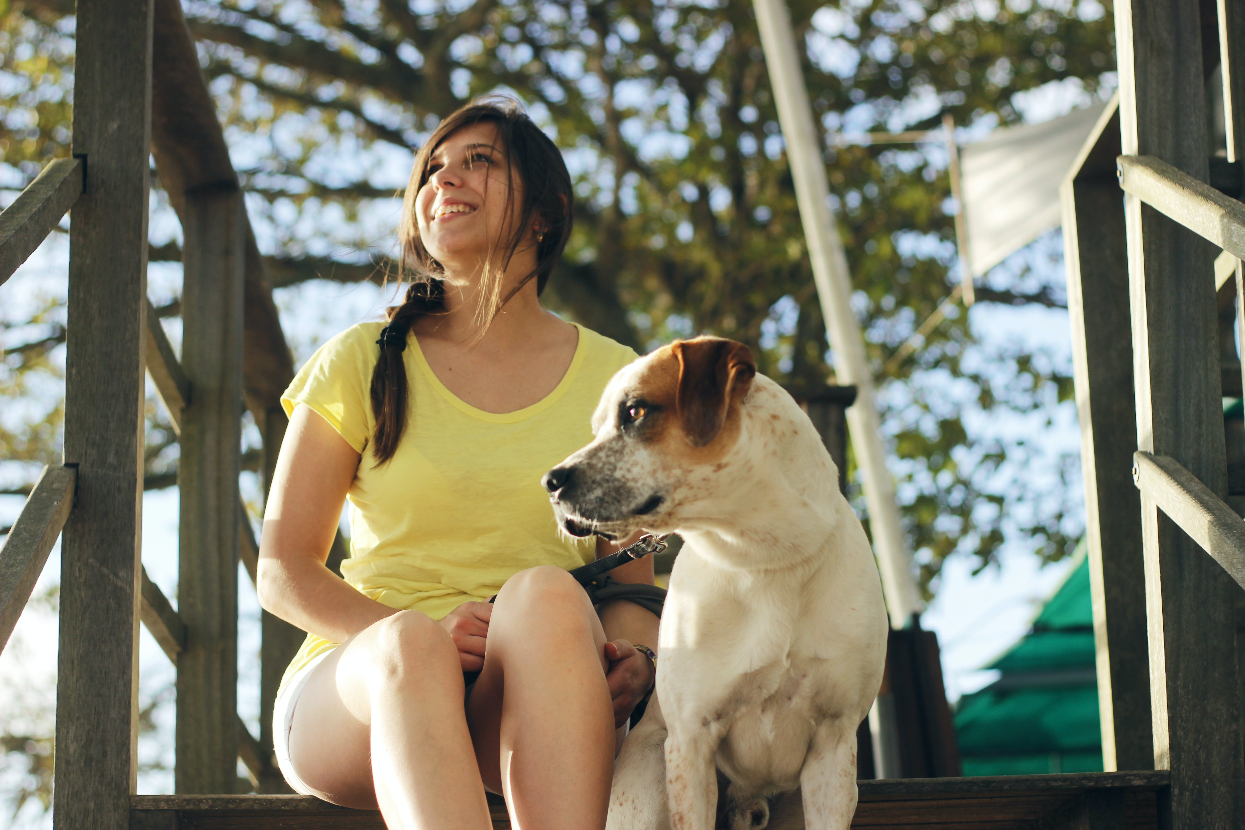 Woman Sitting Near the Jack Russell Terrier