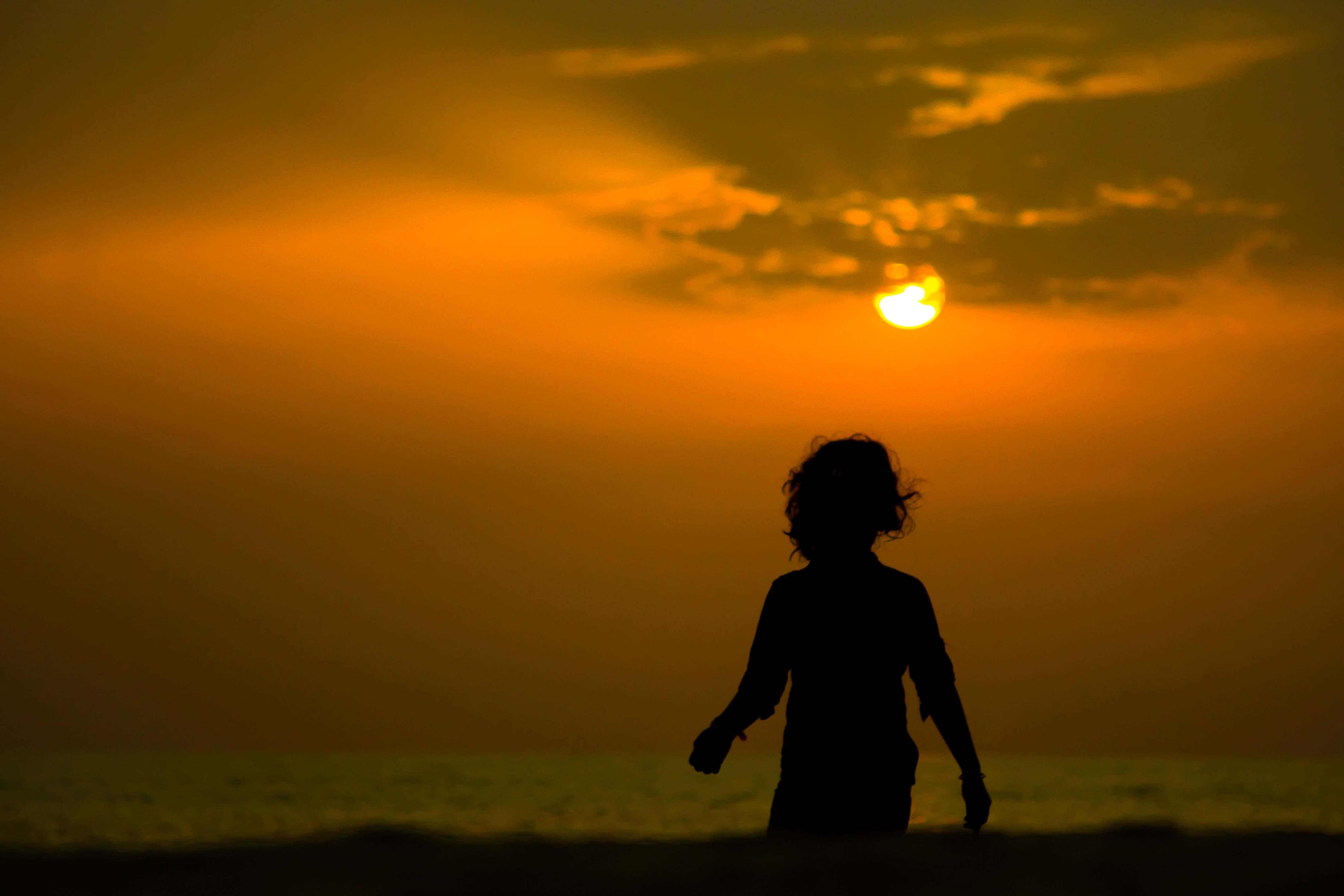 Free stock photo of beach, evening, kid, sun