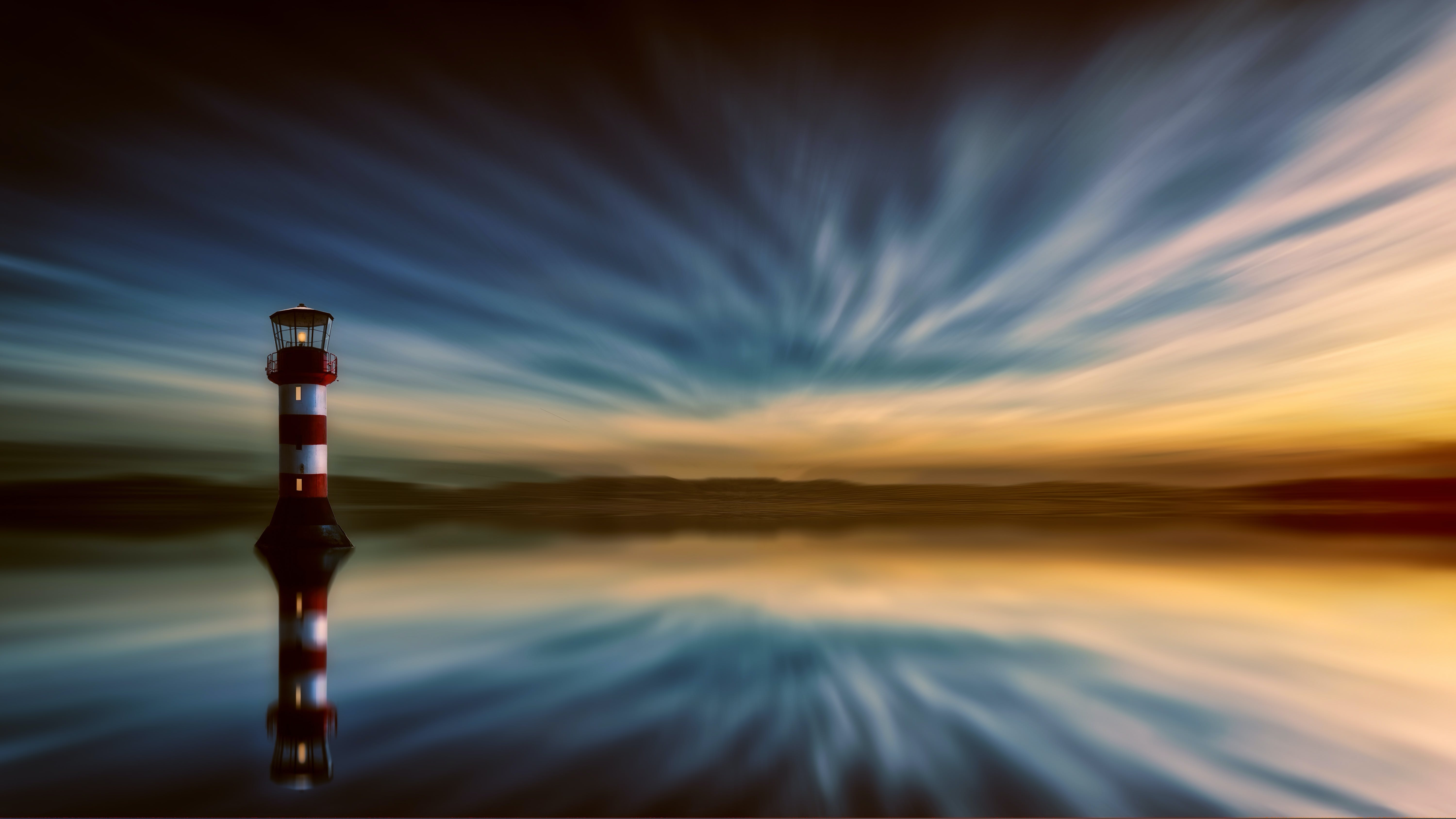 Red And White Lighthouse Painting