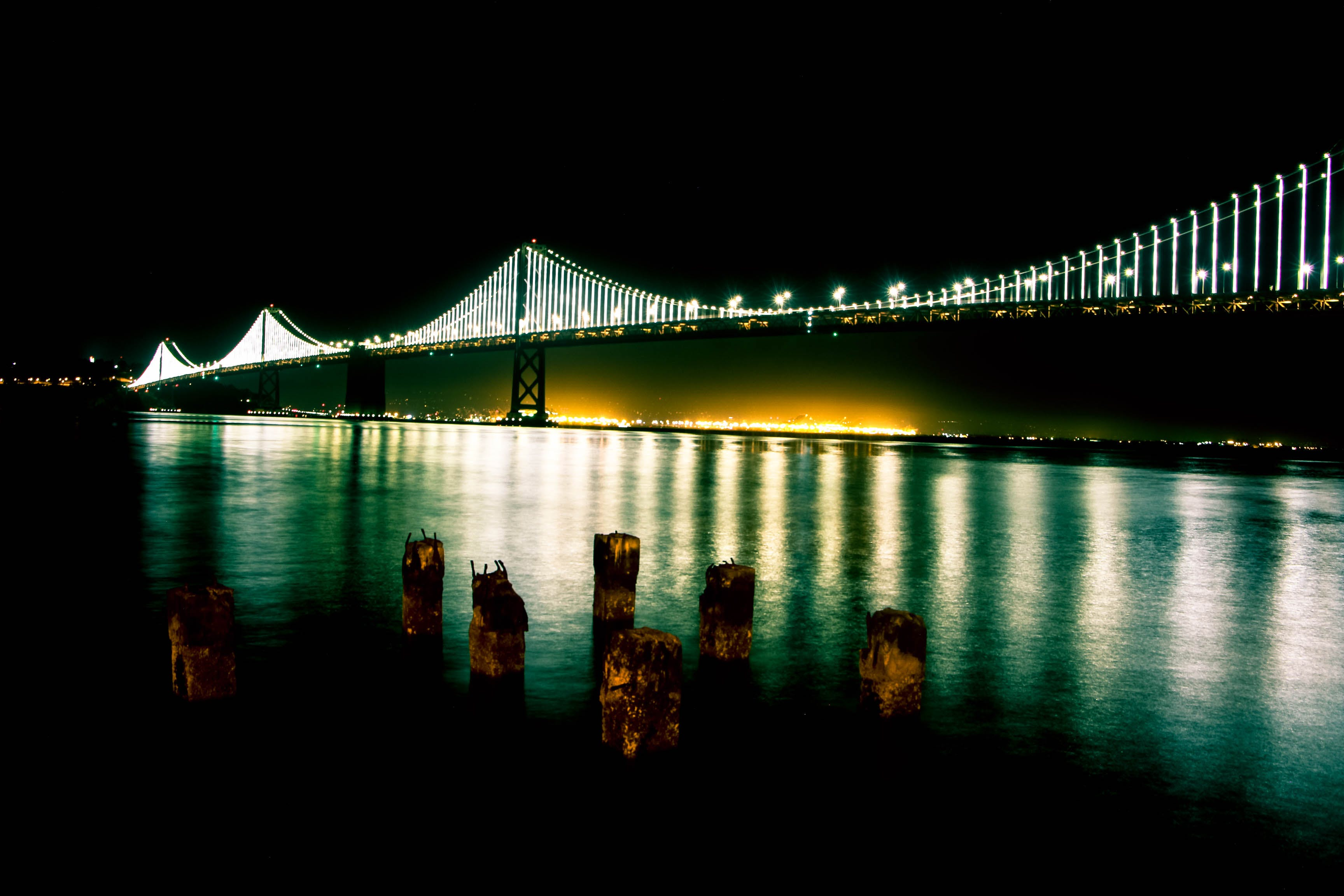 Black Bridge With Lights during Nighttime