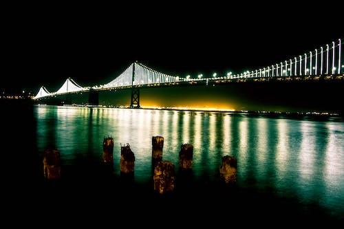Black Bridge With Lights during Nighttime
