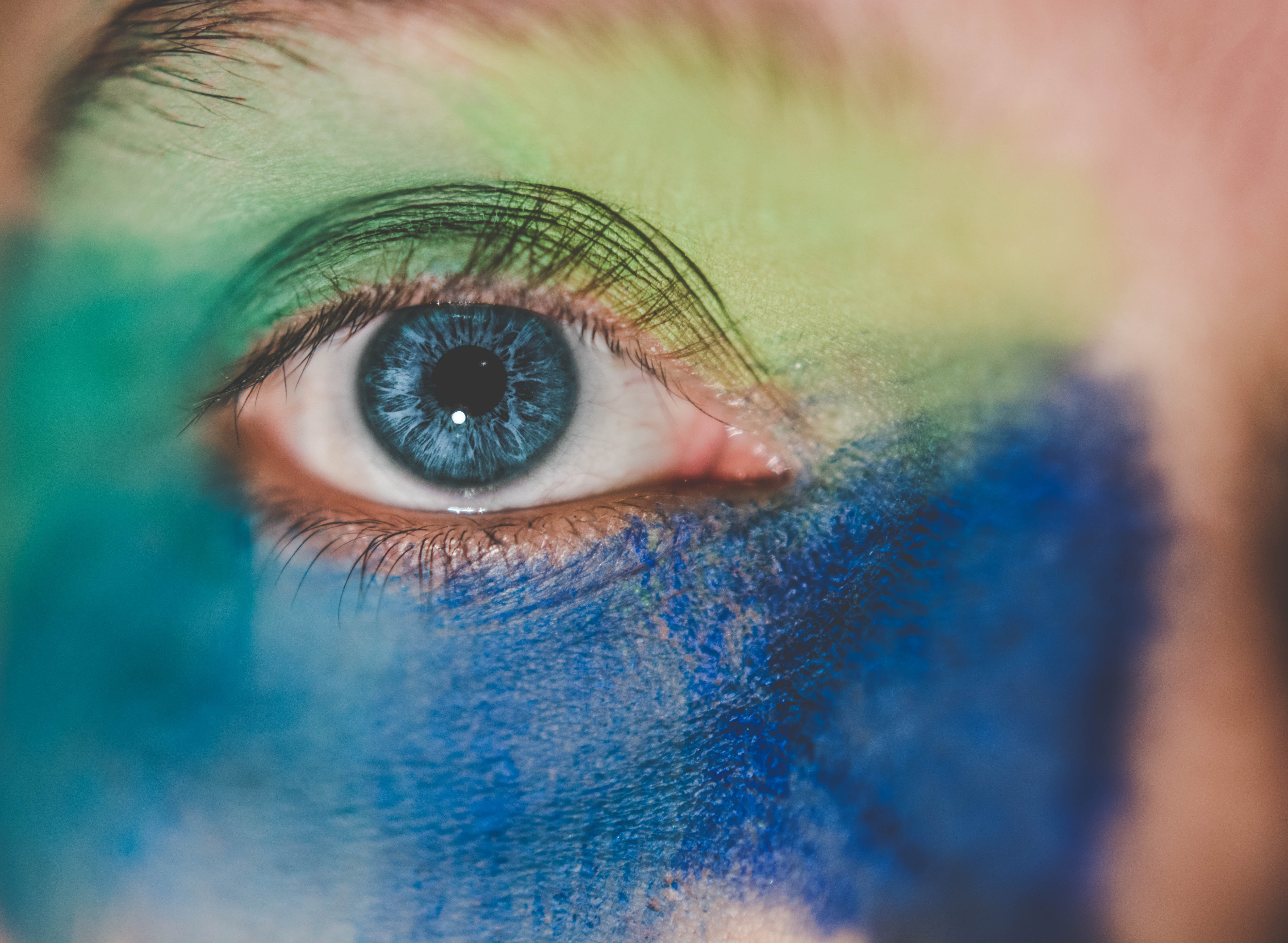 Human Eye With Blue and Green Makeup