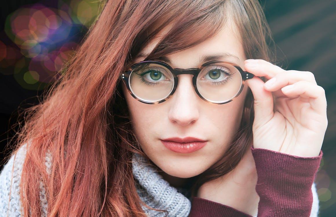 Woman With Brown Hair Wearing Eyeglasses