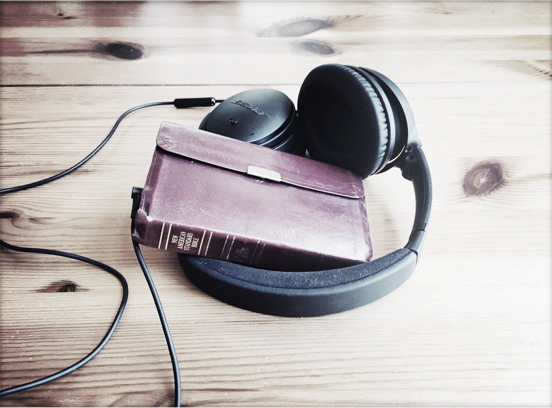 Free stock photo of headphones, bible, head phones, god speaks