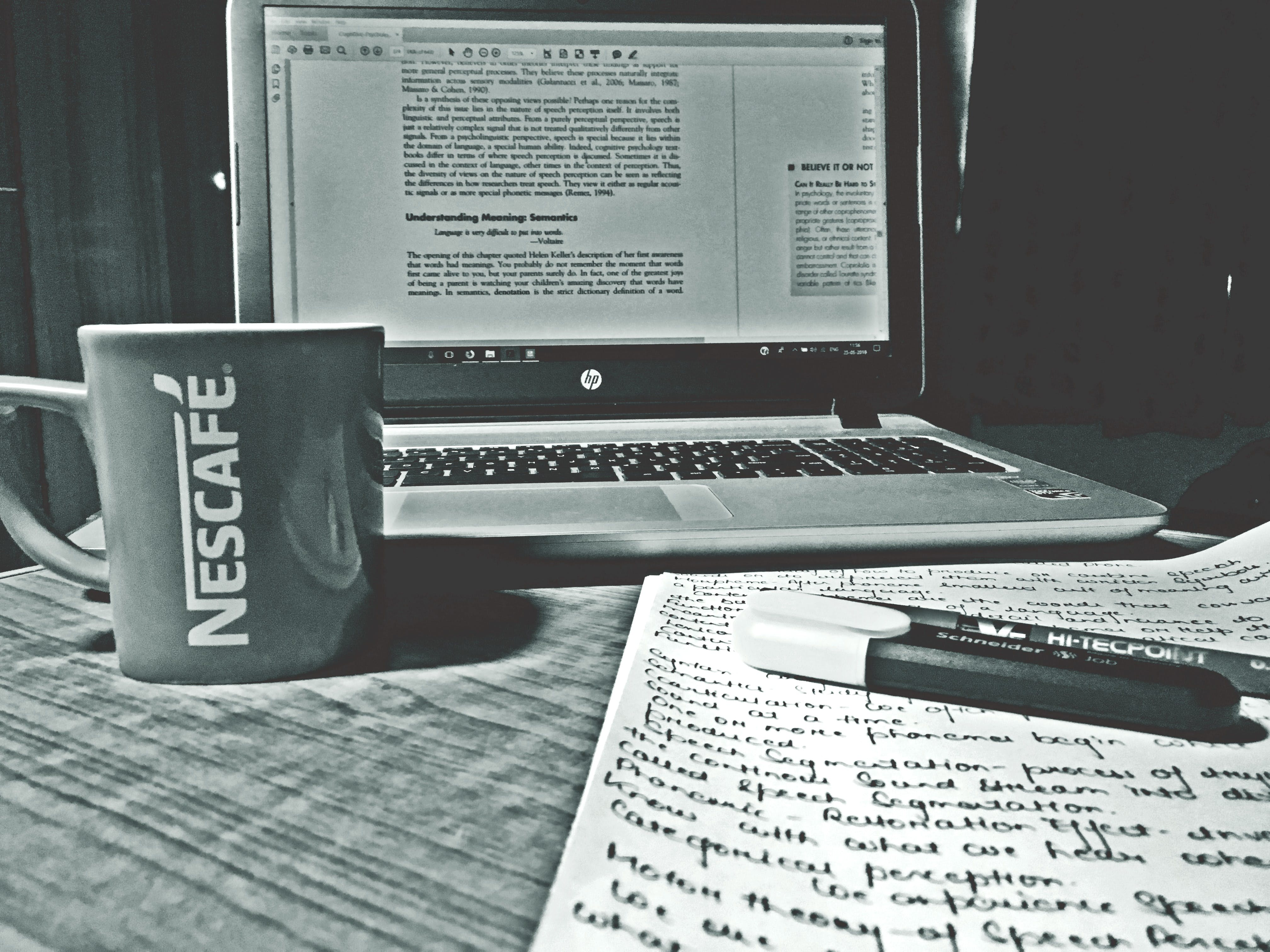 Free stock photo of black and white, coffee, hp, laptop