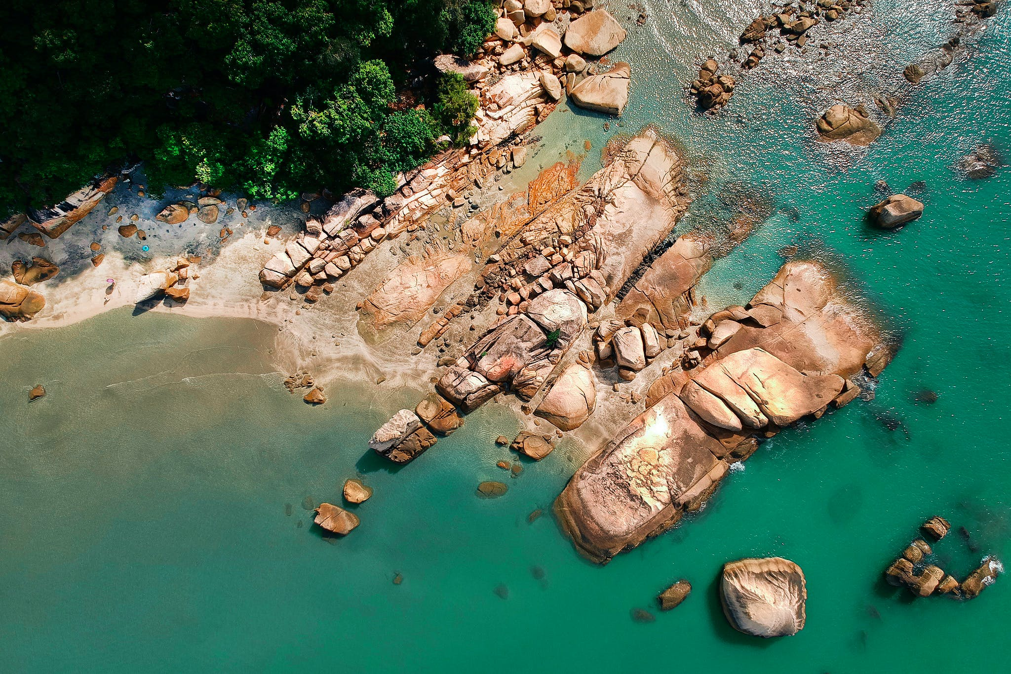 Aerial Photography of Brown Rocky Shoreline