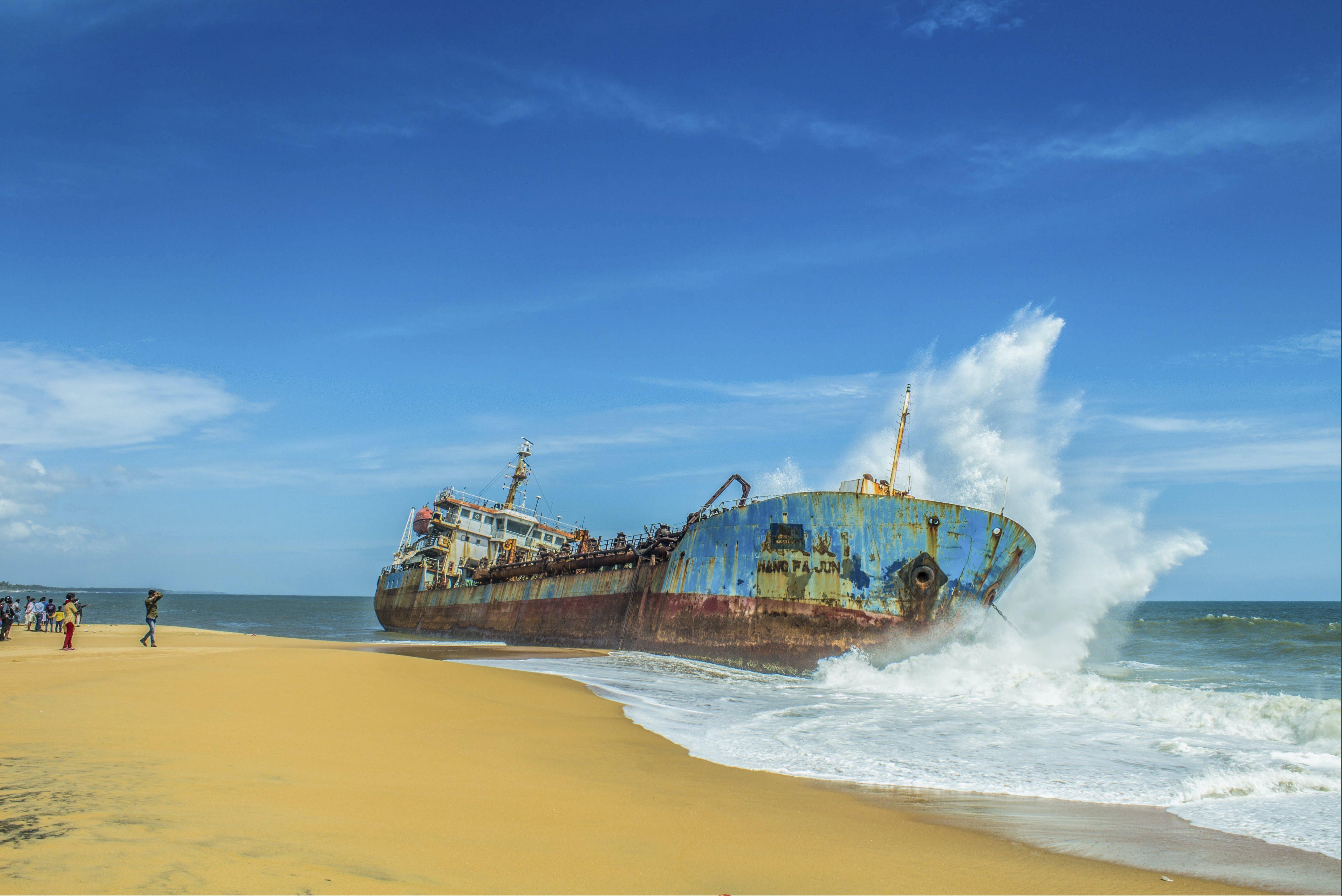 Free stock photo of blue sky, cargo ship, kerala, nature