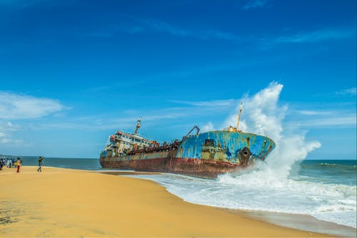 Free stock photo of blue sky, cargo ship, kerala, nature