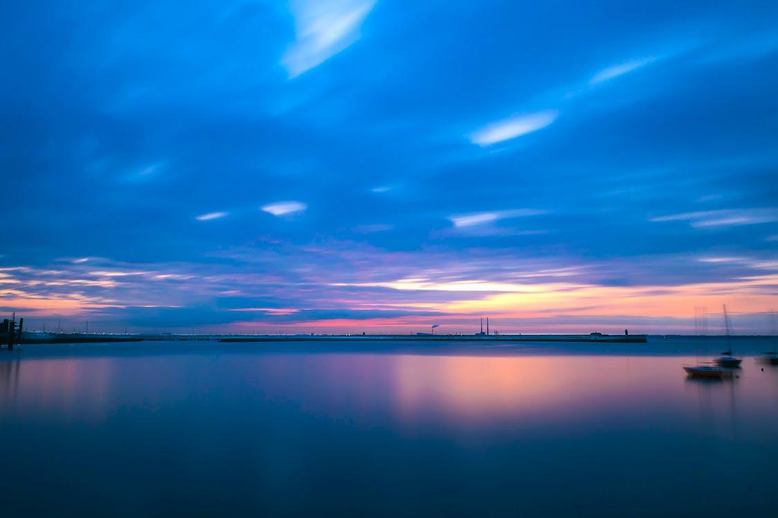 agua, amanecer, exposición larga