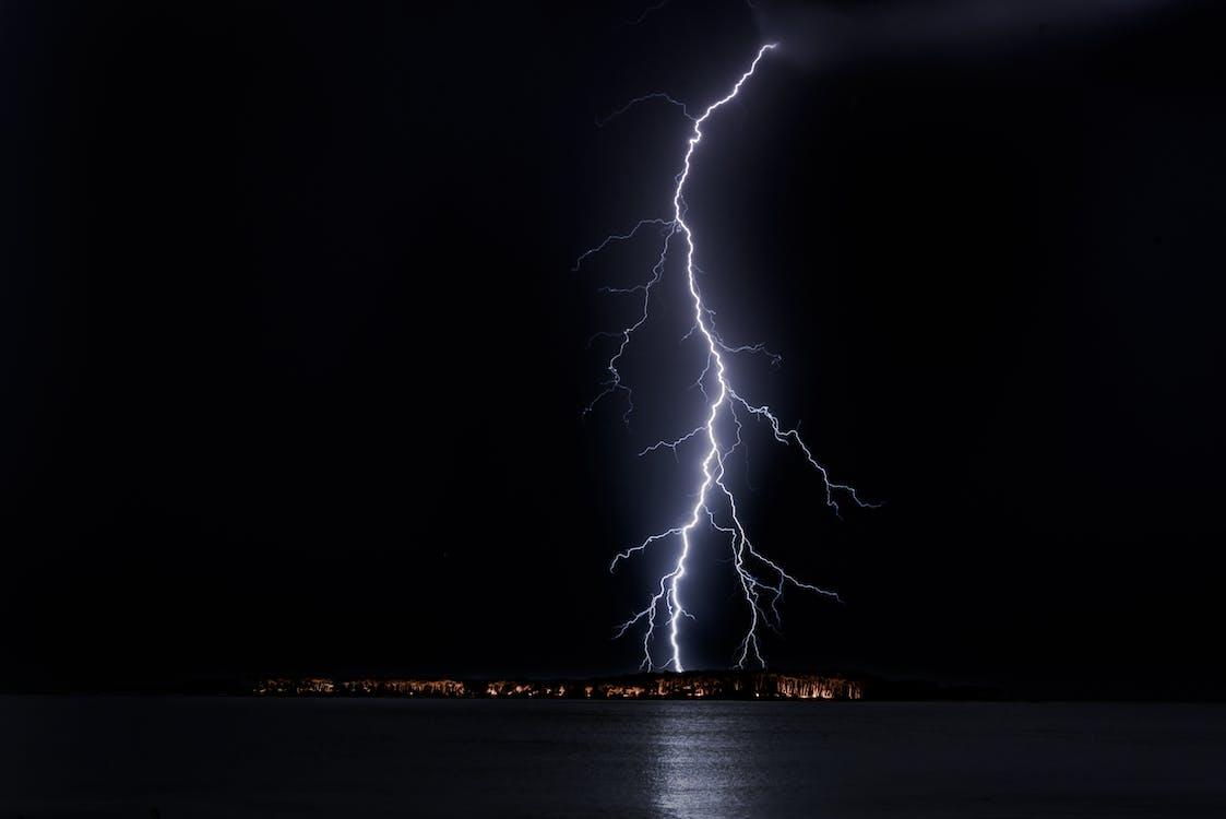 aften, belysning, bølge