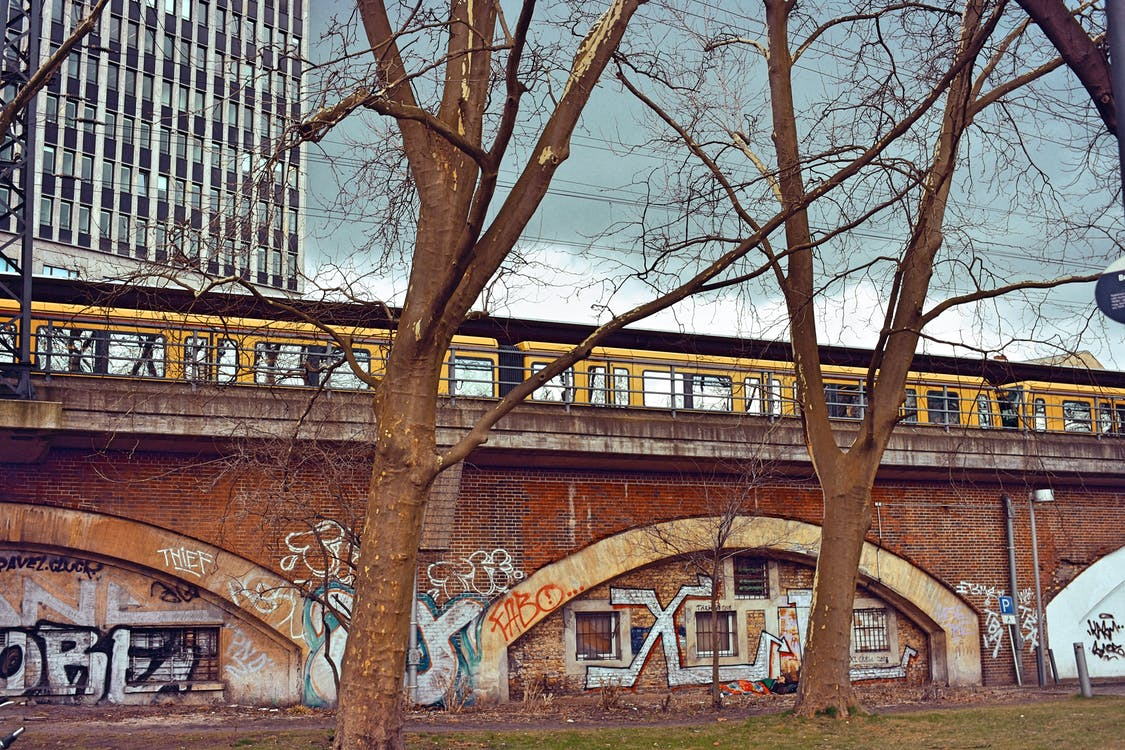 berlin, graffiti, train