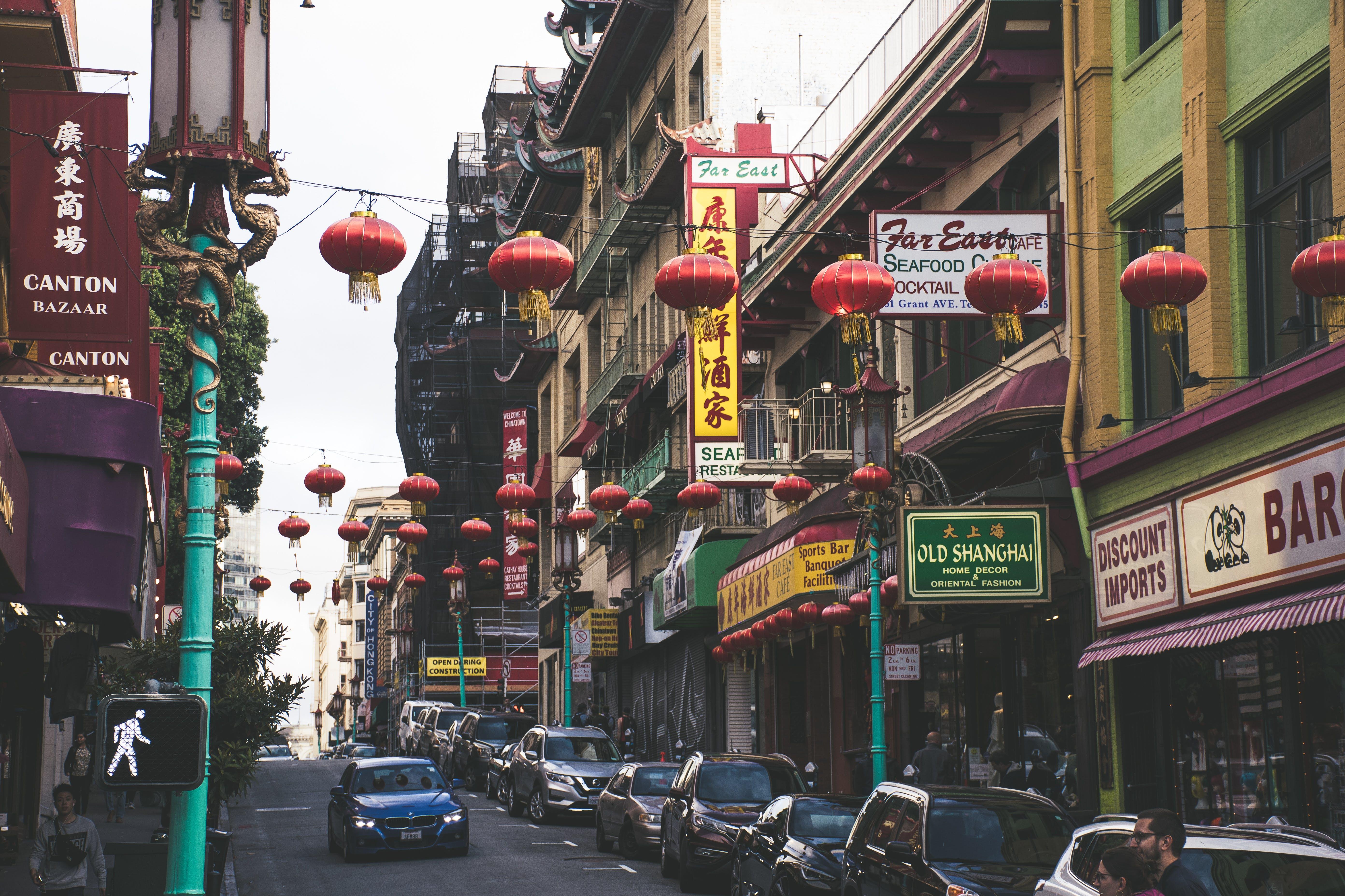 architektur, bürgersteig, chinatown