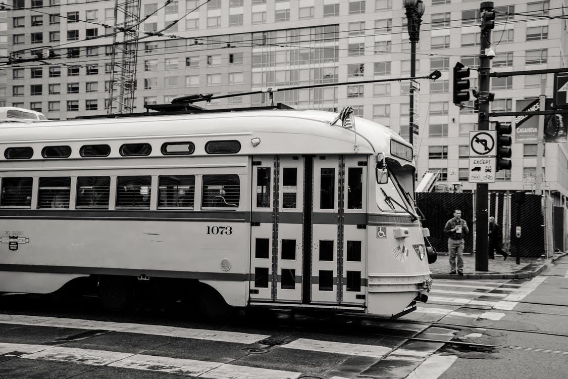 Grayscaled Photo of Train