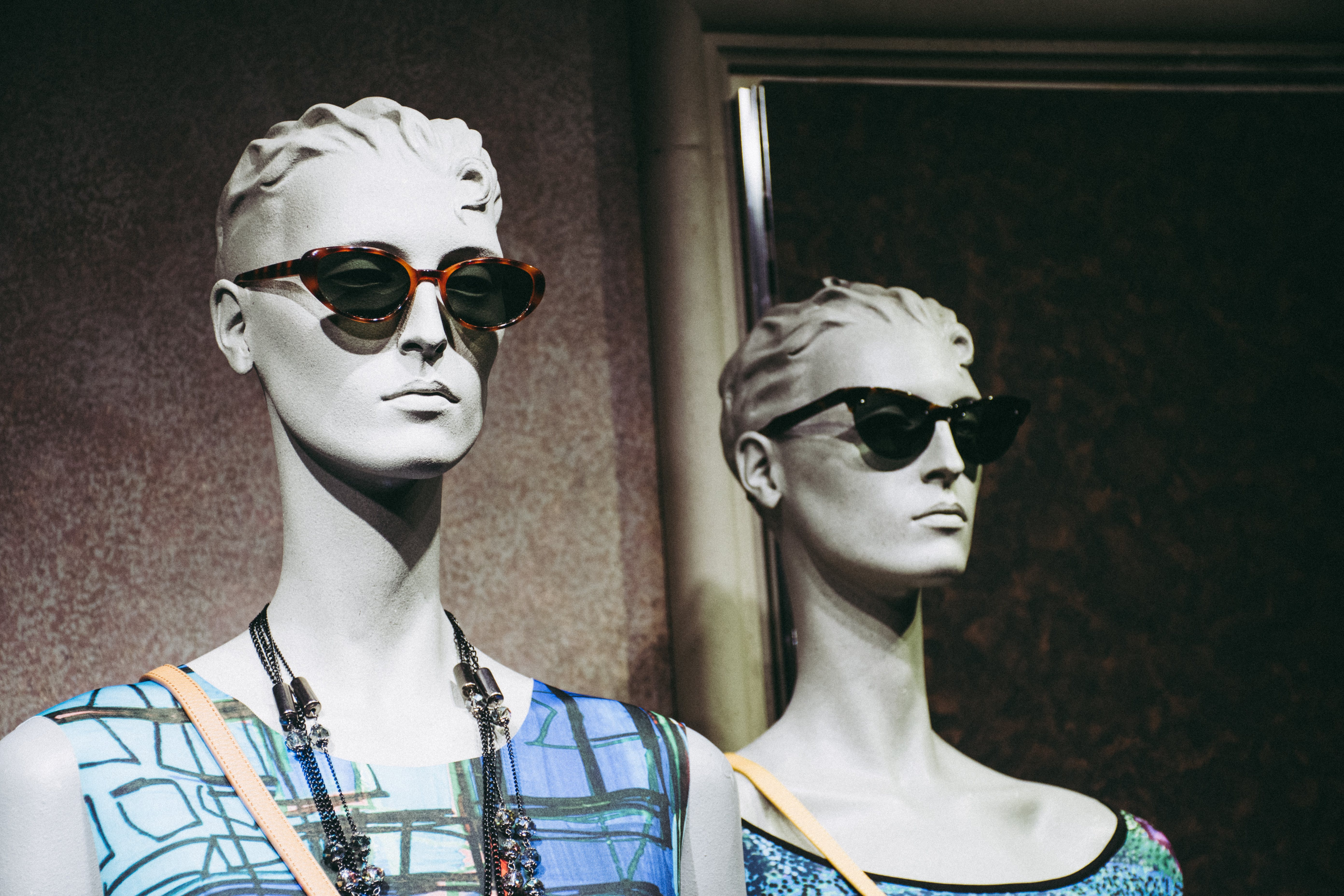Two Female Mannequins Wearing Sunglasses