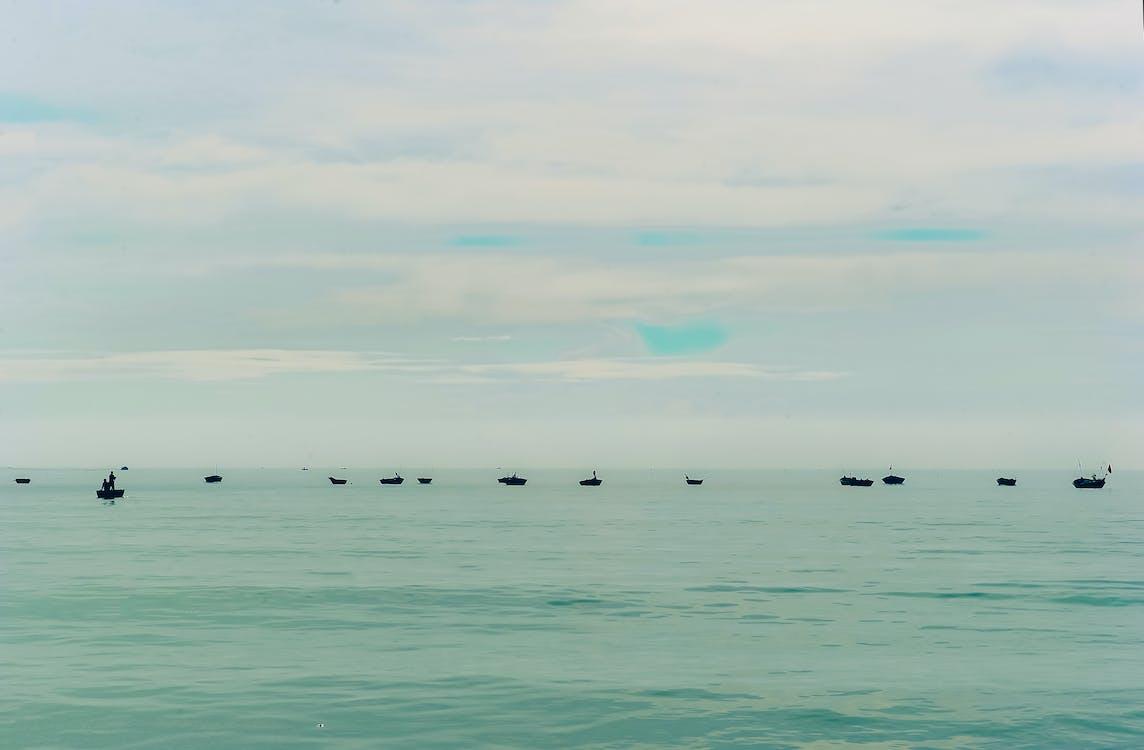 čluny, denní světlo, malebný