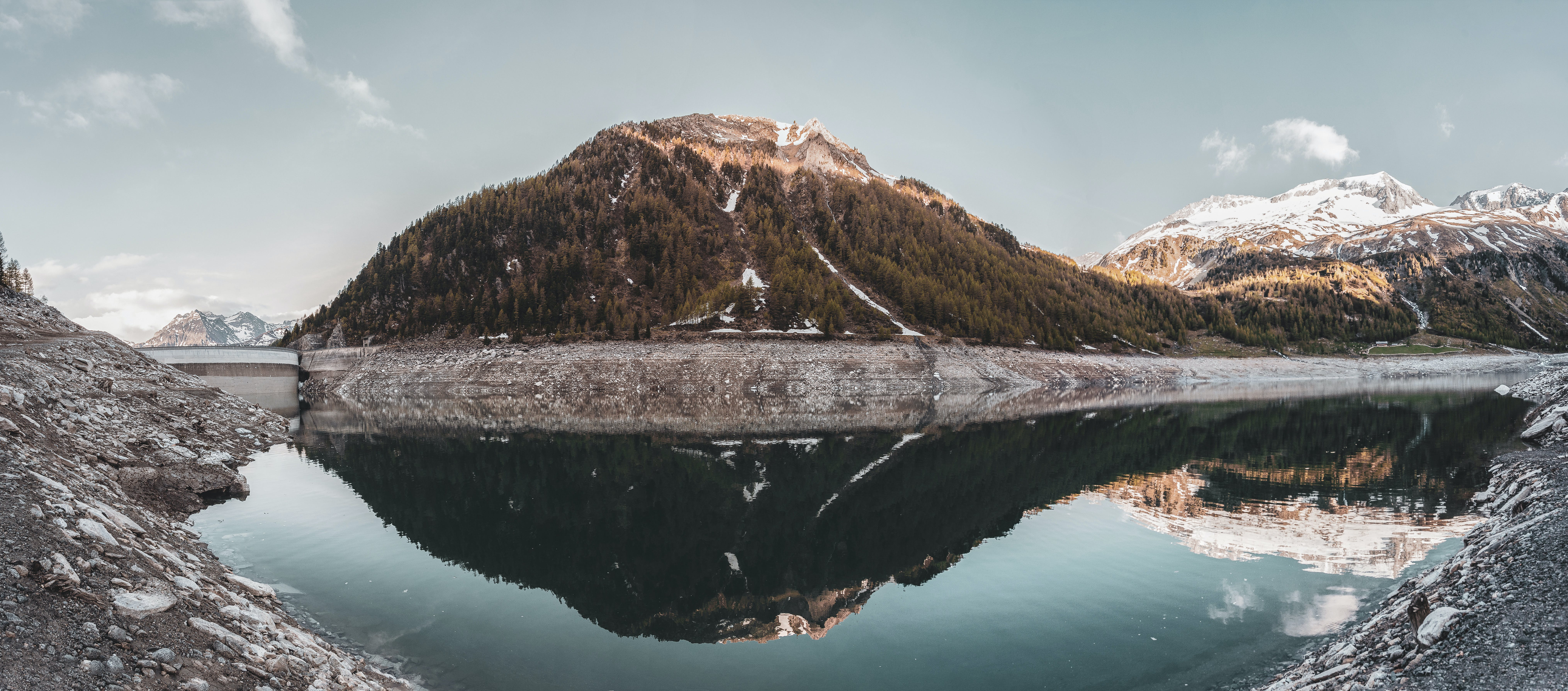 Green Covered Mountain Reflected on Calm Water Under Clear Sky Landscape Photo