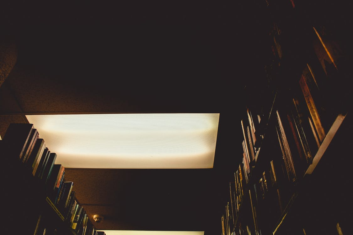 biblioteca, clareja, fosc