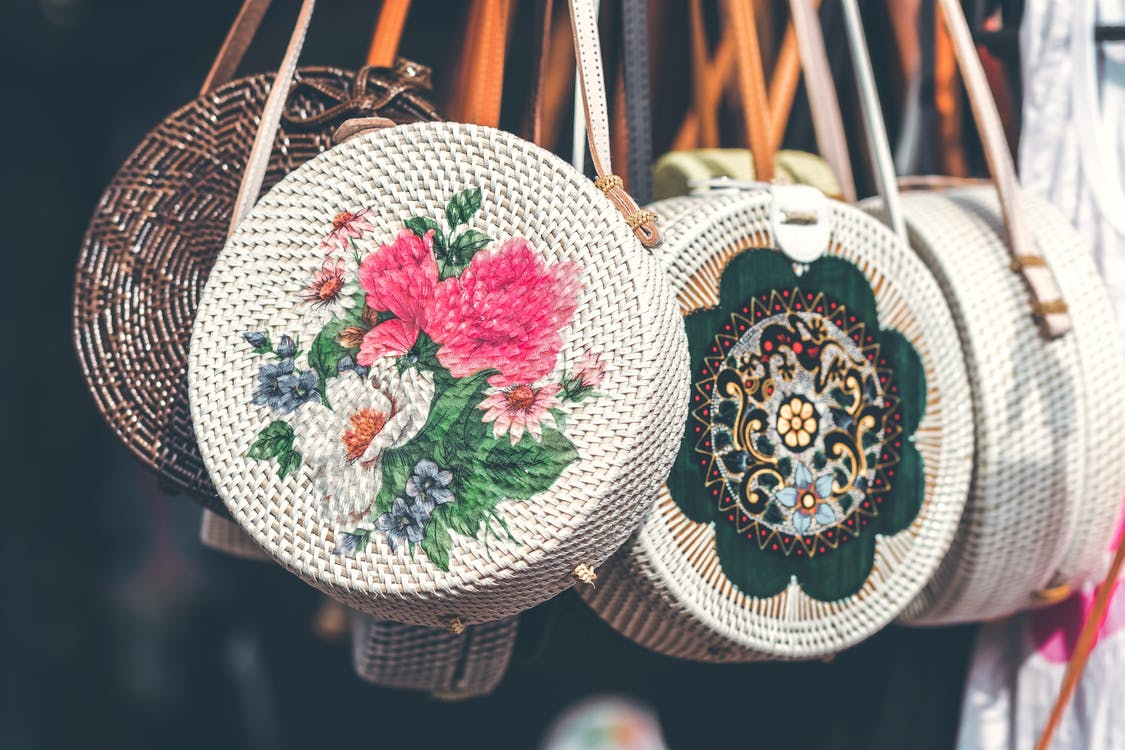 Round White and Pink Floral Woven Sling Bags
