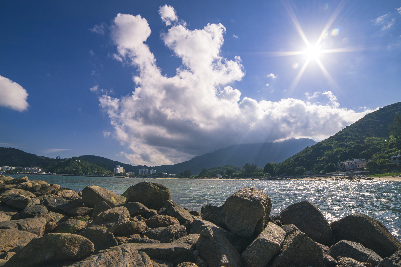 Landscape of River Near Mountain