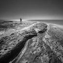 sea, black-and-white, man
