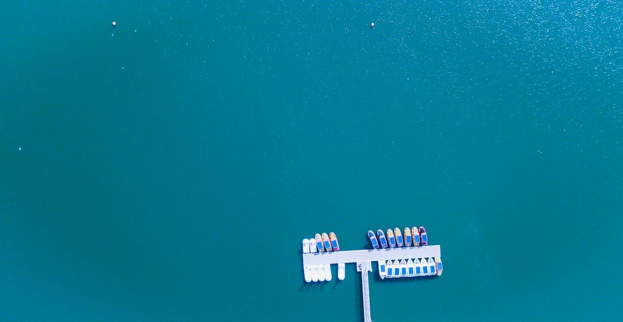 aangemeerd, bird's eye view, boten