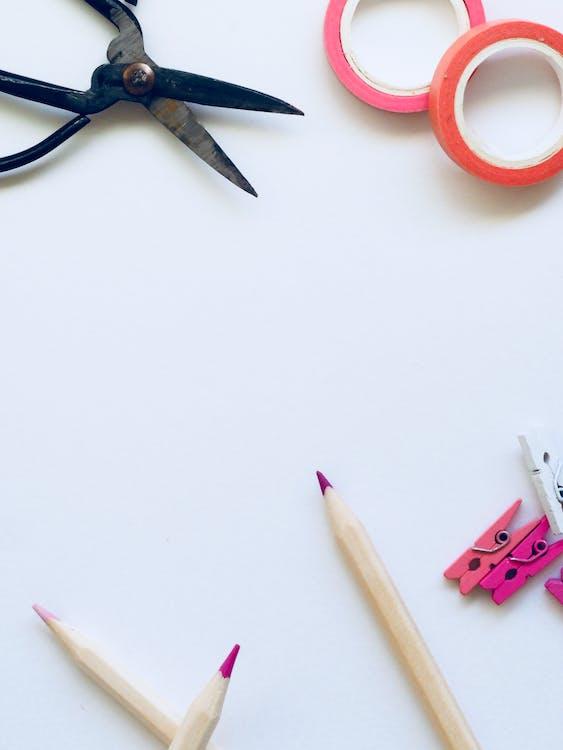 blyanter, farge, hvit bakgrunn