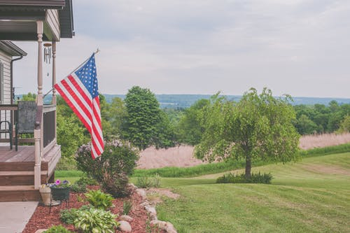 Usa Flag on White House Patio