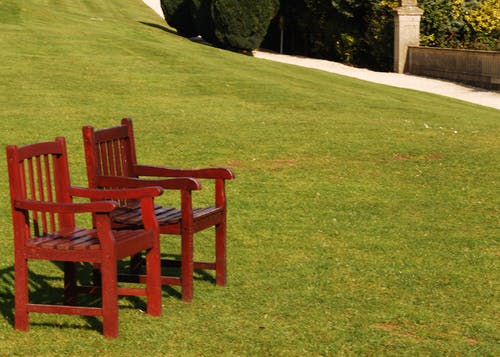 Free stock photo of chairs, lawn, path