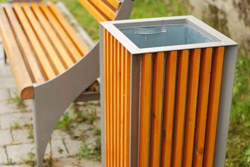 Free stock photo of bench, litter bin