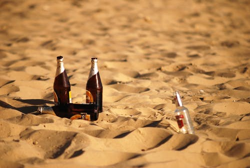Free stock photo of beach, beer, bottle, sand