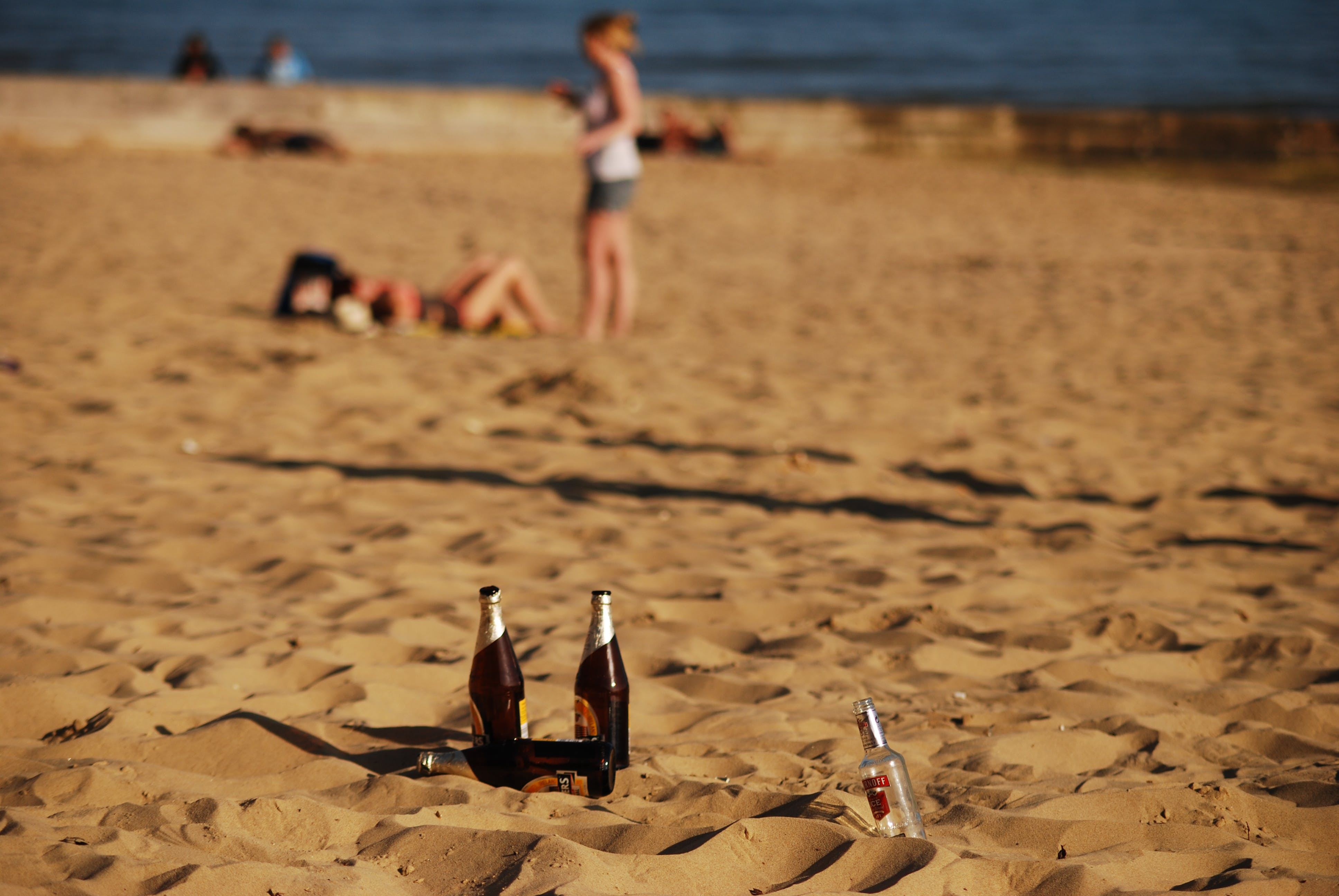Free stock photo of beach, beer, bottles, sand