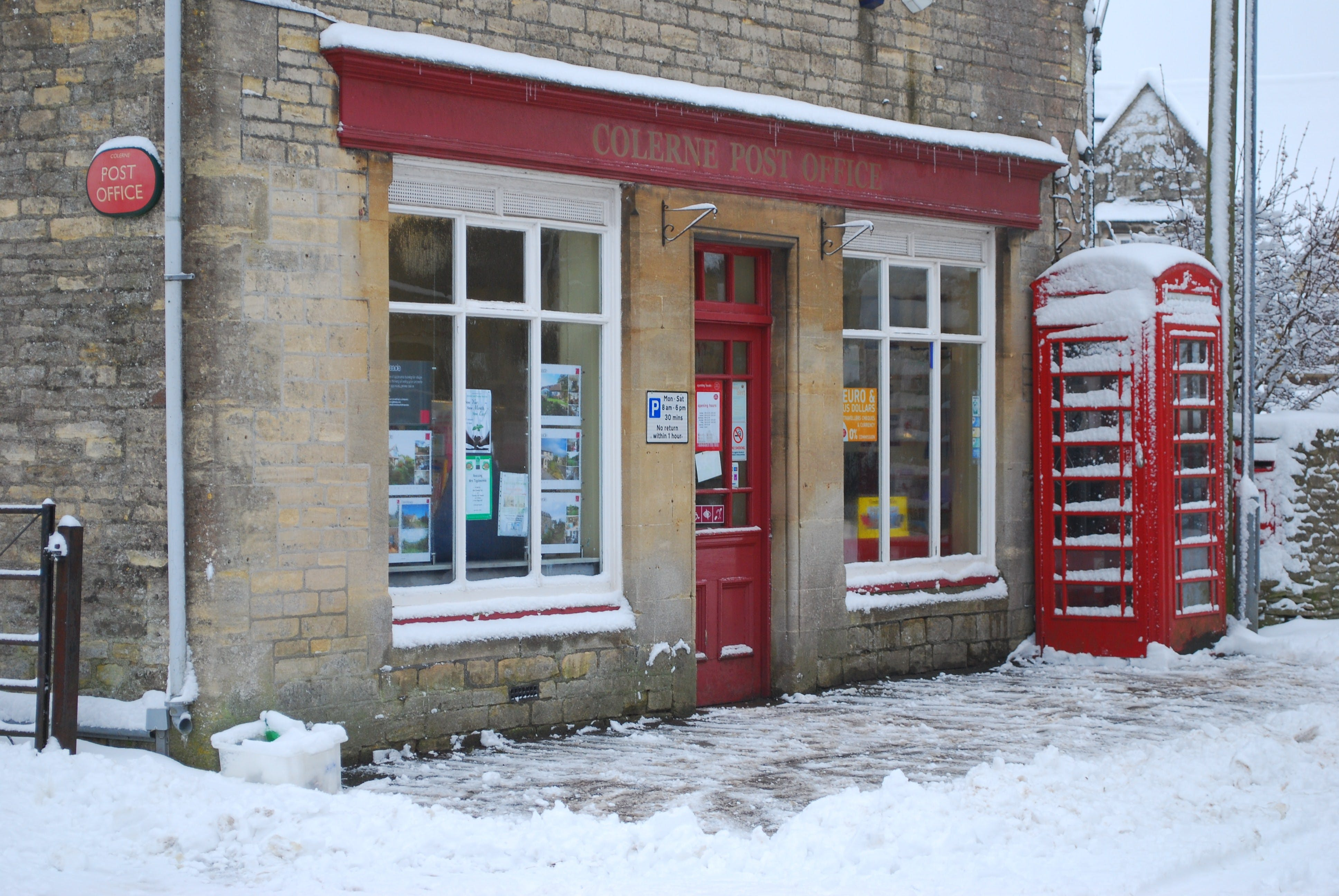 Free stock photo of post office, shop front, snow
